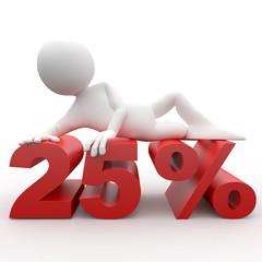 Humano 3d tumbado en 25 por ciento