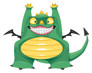 Funny baby dragon. Vector isolated cartoon character