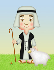 Shepherd with Sheep