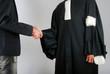 Leinwanddruck Bild - Justice - Avocat et client se serrant la main
