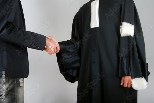 Leinwanddruck Bild Justice - Avocat et client se serrant la main