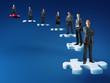 businesspeople on jigsaw stair