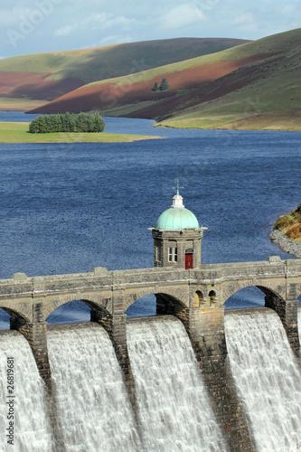 Craig Goch reservoir dam close up, Elan Valley, Wales. - 26819681