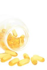 Tablets , Pills Spilling out of Pill Bottle closeup