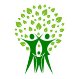 A pictographic image of a green family poster