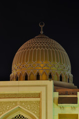 Dome of the Mosque in night in United Arab Emirates
