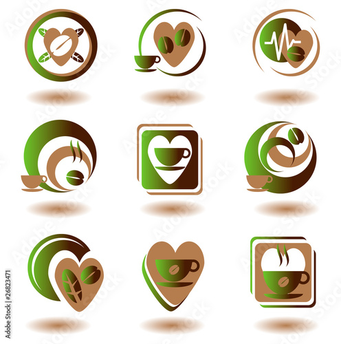 coffee and hot beverages symbol set 1