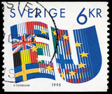 Sweden EU 1995 Postage Stamp Isolated On Black