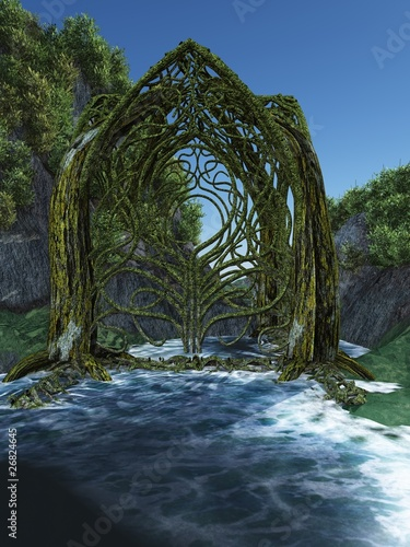 Der grüne Tempel im Fluß