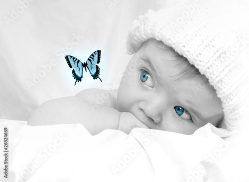 Cute Little Baby Looking at a Butterfly Dream