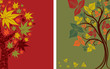 Vector samples of design with decorative tree