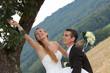 Braut und Bräutigam haben Spass