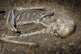 Burial grave archeology ancient skeleton poster
