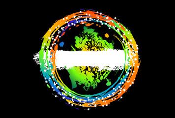 Gradient ink splashes in circle