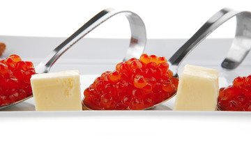 red caviar on spoon