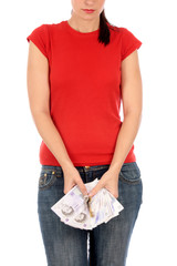 Young Woman Holding Keys and Money. Model Released