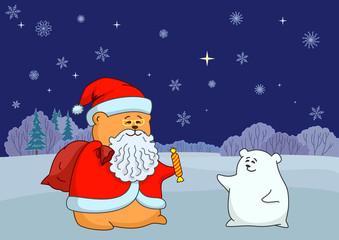 Santa Claus and polar bear