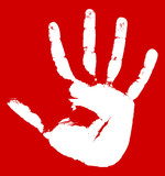 Hand print on a red background
