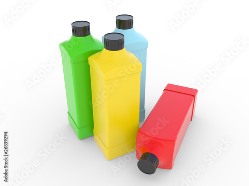 Square plastic bottle with a cover