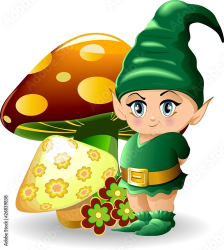 Fotobehang Feeën en elfen Folletto con Funghi-Baby Goblin and Mushrooms-Vector