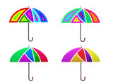 Vector image. Set of colored abstract umbrella.