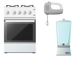 Set of kitchenware. Stove, mixer and blender.