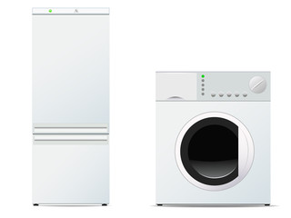 Vector image of refrigerator and washing machine