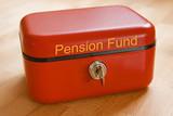 Red metal pension fund cash tin poster