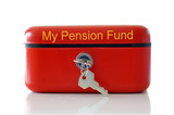 Red my pension fund cash tin isolated over white poster