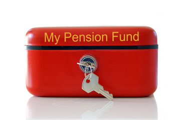 Red my pension fund cash tin isolated over white