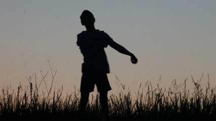 Silhouette, child, jumps