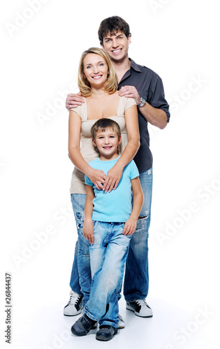 Happy family with child, isolated on white