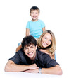 Happy  family with child, isolated