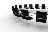 Fototapety 3d round conference room, isolated on white