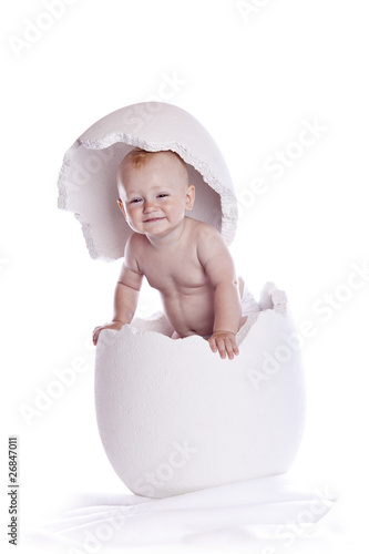 baby in egg on white