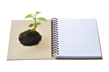 Conept picture of recycle notebook for save environment
