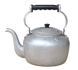 Old dirty classic kettle on white background