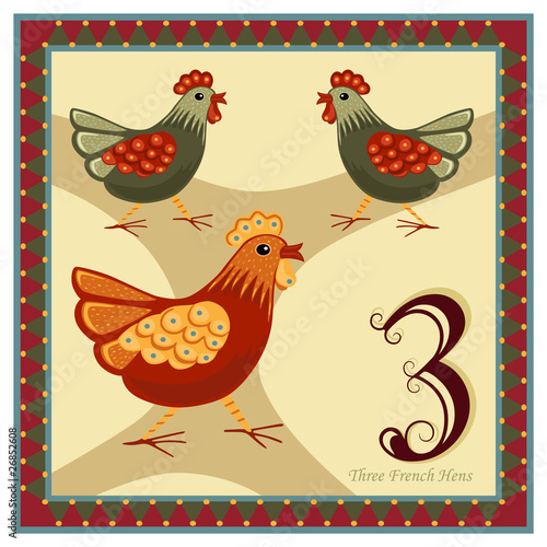 The 12 Days of Christmas - Three French Hens - 26852608