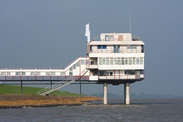 Dutch hotel with a foundation of piles above the sea