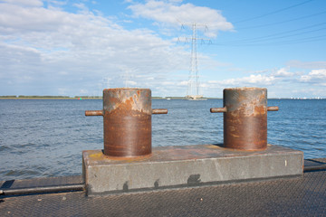 Bollards on a pontoon in the Netherlands