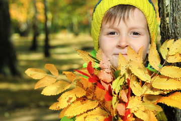 foliage and boy