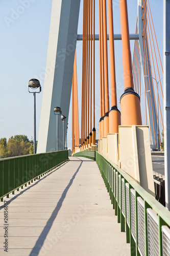 Modern suspension bridge. Warsaw in Poland. © Marcin Chodorowski