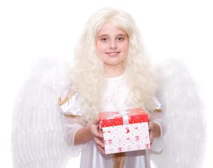 blonder Engel mit Geschenk
