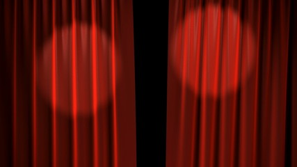 Red Curtains with spotlights open