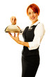 caucasian woman as restaurant waitress is holding a winch