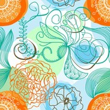 Funky floral background (seamless)