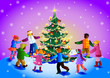Children around christmas tree.