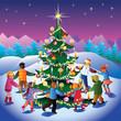 Children around christmas tree.