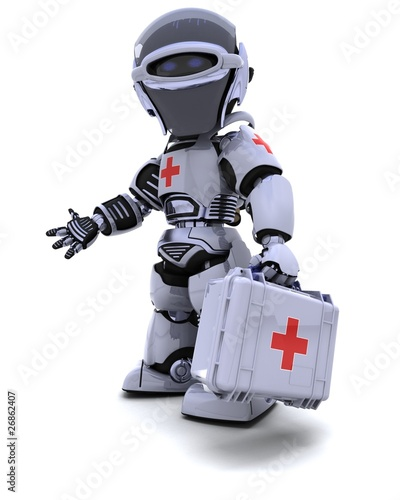 robot with first aid kit