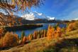 Silsersee im Engadin an einem schönen Herbsttag